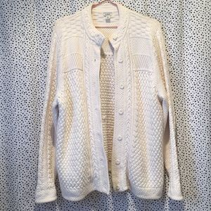 LL Bean cable knit Fisherman cotton cardigan